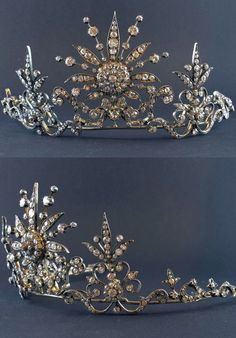 An ornate diamond tiara, 1890. Featuring a large central diamond motif, with radial arms, and slightly smaller foliate spacers and diamond clusters.