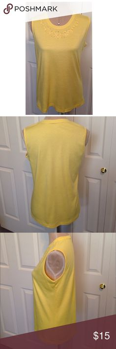 "Allison Daley, Crystal's & Lace Tank Style Top Allison Daley, Dillard's Brand, Beautiful Etched Lace Patterned Neckline Panel With Elegant Crystal Stones, Yellow Tank Style Top. Sleeveless top has bordered trim along the neckline, arms & bottom hem made of 65% cotton & 40% polyester fabric. In Immaculate New Condition. ✅Chest 36""- 38.5"", Waist 36"" 38.5"" & is 25"" Long. Great for any season, looks adorable under blazers, jackets & cardigans. Allison Daley Tops Blouses"