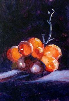 Still Life Oil Painting, Original Fruit on Canvas, Small 5x7, Red Wine Grapes, Purple, Light, Dark, Wall Decor, Kitchen Art, Minimalist