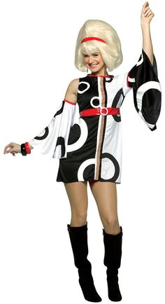 Adult Sexy Miss Mod Disco Costume - Sexy Halloween Costumes 1960s Party Costume, 70s Halloween Costumes, Disco Costume, Retro Costume, Adult Costumes, Costumes For Women, Vampire Costumes, 1960s Halloween, Holiday Costumes
