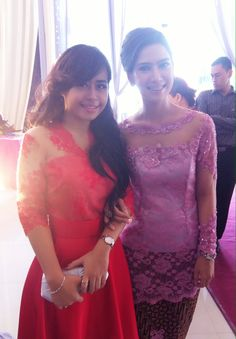 Simple chic red and pink #kebaya #modern me with my friend dhey