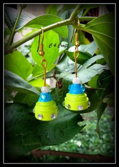handmade paper earring (blue and green)