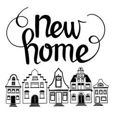 Gelukwens bij een nieuwe woning. Sfeelvolle handletteringkaart waarbij je de achtergrondkleur zelf kunt aanpassen.
