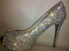 sparkly crysals Heels Peep Toe Heel sliver Crystal by myETSYblingZ, $125.00