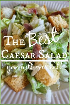 StoneGable Caesar Salad I have been looking for a perfect ceasar salad recipe and this one looks so very good! I am going to try it! Salad Bar, Soup And Salad, Cuisine Diverse, Cooking Recipes, Healthy Recipes, Salad Recipes, Recipe For Caesar Salad, Chicken Ceaser Salad Recipe, Gastronomia