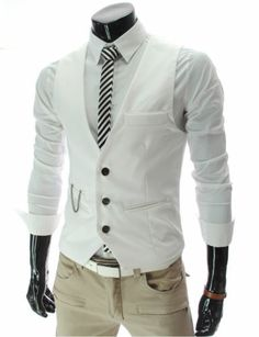 New Men Slim Fit Waistcoat Casual Business Vest Tops White XXL $7.99 + $9.99 shipping