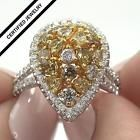 Certified Estate Fancy Yellow Champagne Cognac Diamond 14k Gold Ring 2.86 tcw also