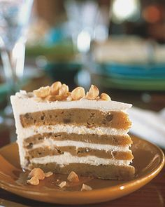 White Chocolate Sweet Potato Cake  Creamy sweet potatoes get the luxe treatment in this impressive layer cake. The moist, lightly spiced cake layers are slathered with white chocolate mousse filling and finished with toasted macadamia nuts.
