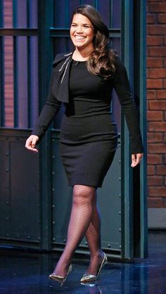 """25 November 2015 - AMERICA FERRERA wears a skin-tight LBD (w/ strong shoulder detail), fishnet stockings & metallic Kurt Geiger London pumps for an apperance on """"Late Night w/ Seth Meyers"""" in N. Thick Girls Outfits, Short Girls, Girl Outfits, Curvy Petite Fashion, Plus Size Fashion, Short Girl Fashion, Plus Size Girls, The Most Beautiful Girl, Night Looks"""