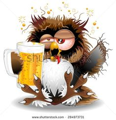 Drunk Owl Fun Cartoon