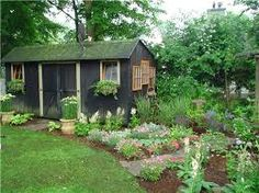 Image result for landscaping around a shed