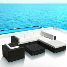 Outdoor Patio Sofa Sectional All Weather Wicker Furniture Resin Couch Set Wicker Couch, Wicker Furniture, Garden Furniture, Outdoor Furniture Sets, Outdoor Decor, Outdoor Sectional, Sectional Sofa, Single Chair, Couch Set