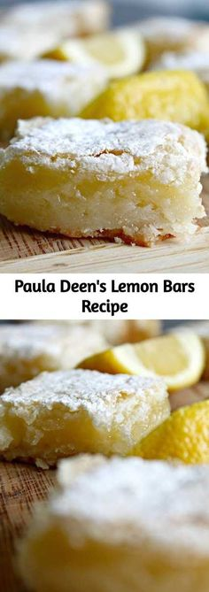Paula Deen's Lemon Bars Recipe - If you& looking for a fairly quick and light dessert, this one is perfect. I like what Paula - Nutella Brownies, Mini Desserts, Easy Yummy Desserts, Delicious Recipes, Quick Recipes, Yummy Food, Healthy Recipes, Dessert Bars, Light Dessert Recipes