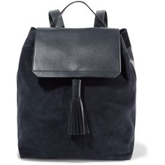 Iris and Ink - Leather And Suede Backpack (1.190 RON) ❤ liked on Polyvore featuring bags, backpacks, navy, navy leather backpack, leather bags, navy backpack, suede backpacks and snap backpack