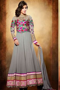 Maginificent Grey Georgette Embroidered Floor Touch Anarkali Suit