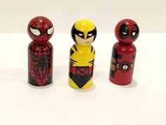 Hey, I found this really awesome Etsy listing at https://www.etsy.com/listing/234522258/superhero-peg-wood-dolls-spiderman