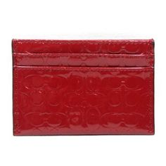Coach Embossed Liquid Gloss Card Case (Red) Coach. $58.00