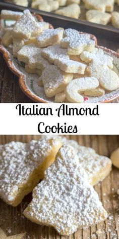 These Italian Almond Cookies are a soft cut out cookie, fast and easy to make. Made with only 6 ingredients they make a nice addition to your Holiday Cookie tray. New Year's Desserts, Christmas Desserts, Christmas Baking, Italian Christmas, Christmas Cookies, Diet Desserts, Chocolate Cookie Recipes, Easy Cookie Recipes, Chocolate Chips