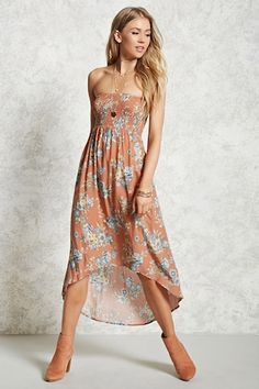 Style Deals - A woven strapless midi dress featuring a smocked bodice, allover floral print, and a high-low hem.
