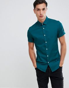 a9a569fcf50 ASOS DESIGN slim shirt in teal with short sleeves Teal Shirt