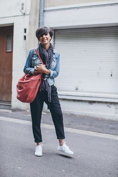 Veste HM  ♥ Débardeur Ekyog Pantalon Mango Sac American Vintage ♥ Baskets Veja Foulard Vero Moda Collier Asos Bracelet Orélia