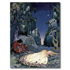 Princess Sleeping in Forest Post Card