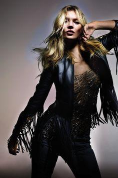 Fringed jacket + beaded blouse // #Fashion #Style #KateMoss