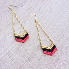 Handstitched Chevron Earrings // Gold, Turquoise Green & Purple // Arrowhead Beaded Colorful Geometric Dangle Earrings by Kurafuchi on Etsy https://www.etsy.com/listing/192775244/handstitched-chevron-earrings-gold