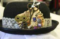 Steampunk seamstress hat pin collage bobbins by hudathotjewelry, $38.00