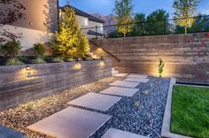 modern rock garden romantic lighting