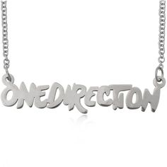 """Stainless Steel """"One Direction"""" Chain Necklace 60cm Length ❤ liked on Polyvore"""