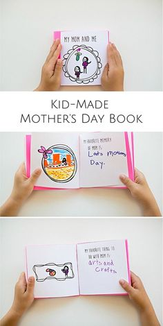 Make a sweet and thoughtful kid-made Mother's Day book with 12 free printable frames and fill-in prompts for kids to draw and write in!