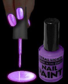 Purple glow in the dark  nail polish