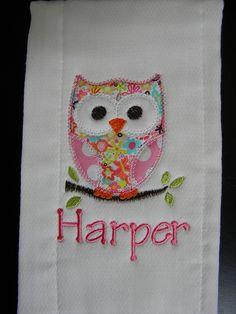 Custom boutique pink OWL burp Cloth Personalized applique MONOGRAM baby girl boy. $7.99, via Etsy.