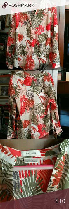 Tunic style top Look stylish wearing this tunic style long sleeve top. It's made of 100% cotton and features floral/plant designs. Van Heusen Tops