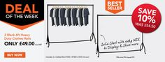 Great saving when you order 2 quality heavy duty clothes rails - practical and hard-wearing