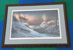 "TERRY REDLIN DEER CROSSING HAND SIGNED 332/960 NUMBERED 38x27"" PRO FRAMED PRINT Terry Redlin, Deer Crossing, Framed Prints, Signs, Ebay, Decor, Decorating, Novelty Signs, Sign"