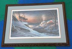 "TERRY REDLIN DEER CROSSING HAND SIGNED 332/960 NUMBERED 38x27"" PRO FRAMED PRINT Terry Redlin, Deer Crossing, Numbers, Framed Prints, Signs, Ebay, Decor, Decoration, Decorating"