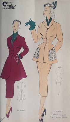 "From "" Croquis Couture"" - Coat and jacket - winter 1951"