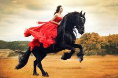 horse, girl, red dress