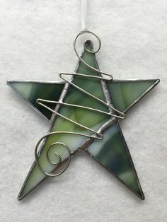 Stained Glass Ornament Star with Wire by MamaAgees on Etsy