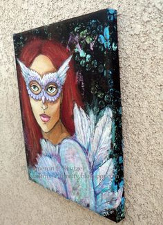 ORIGINAL Girl in Owl Mask Dreaming of by PaintMyselfPretty on Etsy