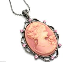 New Cameo Pink Crystal Pendant Women's Necklace #SensualGems #Pendant