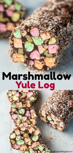 This Marshmallow Yule Log is one of my very favourite retro Christmas recipes! This treat is pure chocolate, walnut and coloured marshmallow goodness! Candy Recipes, Sweet Recipes, Baking Recipes, Holiday Recipes, Dessert Recipes, Christmas Recipes, Dinner Recipes, Christmas Snacks, Xmas Food