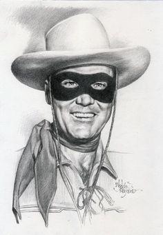 Clayton Moore as The Lone Ranger Cool Pencil Drawings, Cartoon Drawings, Pencil Art, Horse Drawings, Celebrity Caricatures, Celebrity Drawings, Western Comics, Western Art, The Lone Ranger