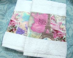 PARIS COLLAGE new Fabric  Custom Decorated Hand by Sew1Pretty