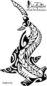 Hammerhead Shark Polynesian Style Tattoo Design