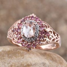 Add colorful sparkles to your life with this Marropino morganite ring. Laced with pink tourmaline and white zircon, this designer ring features morganite gemstones, radiating colorful sparkles. Set in a frame of 14K rose gold over sterling silver, this finery will make you look irresistibly appealing at every occasion. Free Shipping ​Gift Box