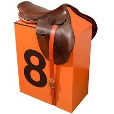 """Hermes Saddle Stool,"" by contemporary pop artist, Dylan Egon. Vintage Hermes saddle on custom base. Functional stool or art object."