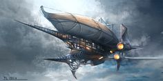 Very cool steampunk airship design. Illustration by TerryLH, http://terrylh.deviantart.com/art/airship-363517160